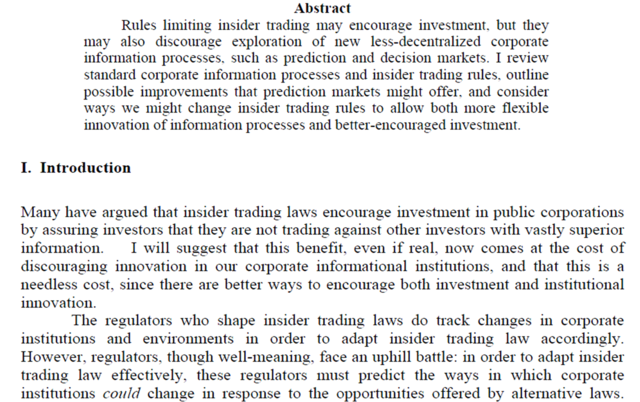 """Insider trading and prediction market"" Robin Hanson"