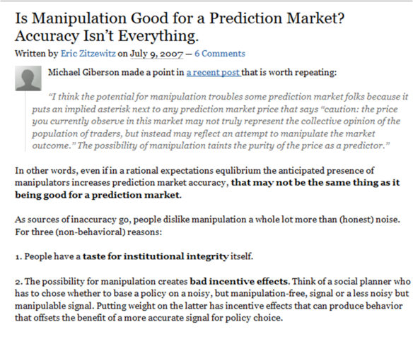 """Is manipulation good for a prediction market? Accuracy isn't everything"", Eric Zitzewitz"