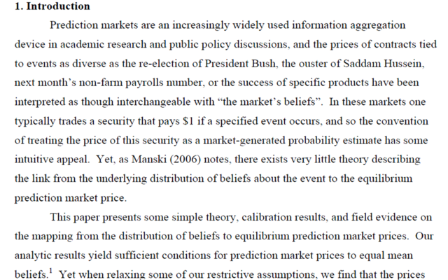 """Interpreting prediction markets as probabilities"", Justin Wofers et Eric Zitzewitz"