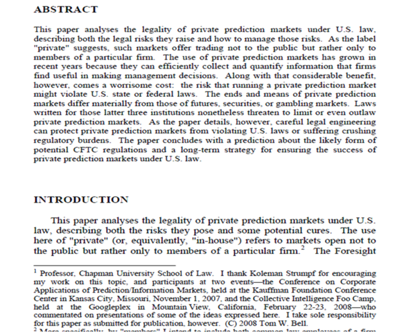 """Private prediction markets and the law"", Tom W. Bell"