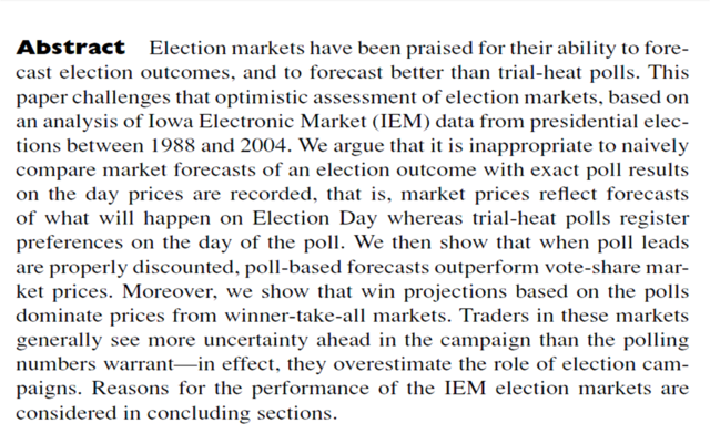 """Are political markets really superior to polls as election predictors?"" Robert S Erikson et Christopher Wlezien"
