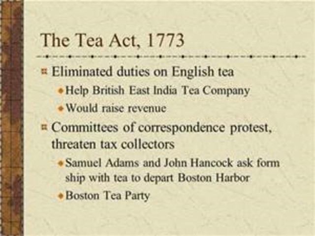 1773 tea act The tea act of 1773 once again inflamed the northern radicals although it  lowered tea prices the radicals were afraid americans might accept the lower  tea.