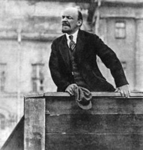 "Lenin returns: ""Peace, Land, and Bread!"""