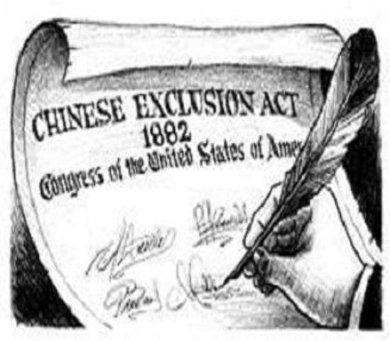 "a history of the chinese exclusion act 1882 Chinese exclusion act essay in 1882, in response to the vociferous insistence of california's anti-""coolie"" clubs and irish immigrant denis kearney's workingmen's party of california, congress passed the first law in us history to ban explicitly the further immigration of a particular racial or ethnic group."