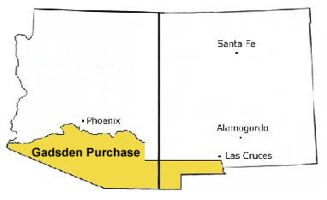 gadsden purchase The gadsden purchase treaty was signed on december 30, 1853 and finalized in 1854 the land purchased covered southern arizona.