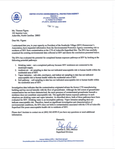 "EPA Region IV Director Franklin Hill issues expedited letter to SSV residents assuring that contamination from CTS site poses no ""unacceptable risk to residents of SSV."""