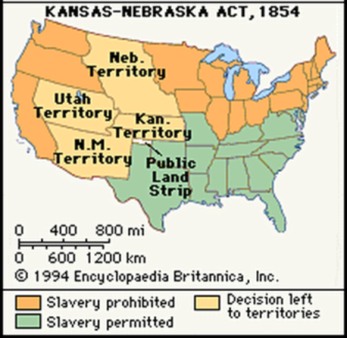 the kansas nebraska act of 1854 The kansas-nebraska act of 1854 not only created the territories of kansas and nebraska, but also repealed the missouri compromise of 1820 and allowed the territory settlers to determine if they would allow slavery within their boundaries.