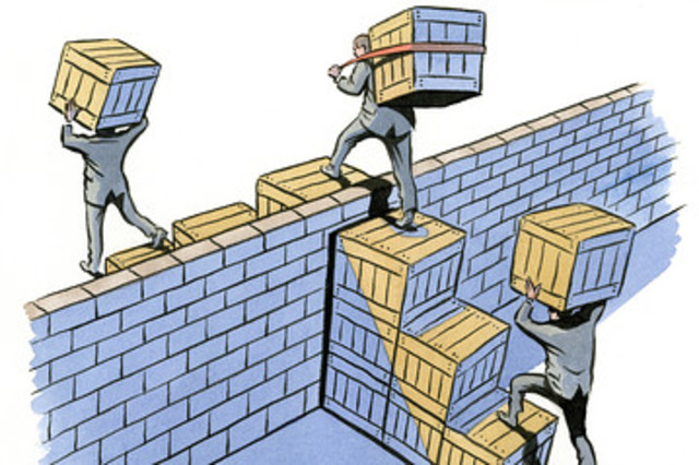 trade barriers Trade barriers definition: regulations or policies that restrict international trade, esp tariffs , quotas , etc   meaning, pronunciation, translations and examples.