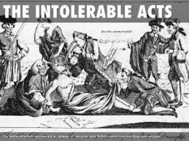 the intolerable act In 1774, in response to the first tea party, the british parliament issued a series  of acts designed to control the colonists, stop their protests and.