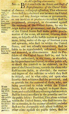 The Alien and Sedition Acts of 1798