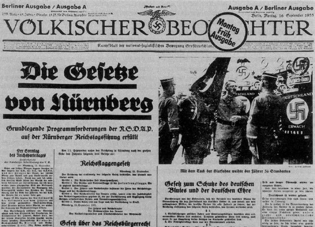 Germany Issues the Anti-Jewish Nuremberg Laws
