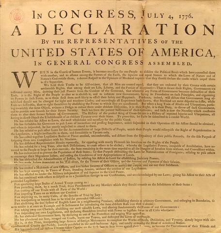 Enlightenment: America declares independence form Brittian