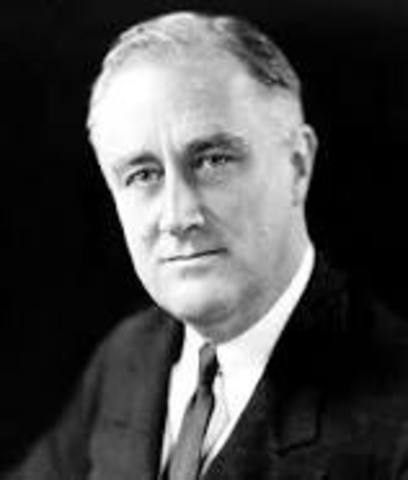 "FDR sets into mothin the ""New Deal"""