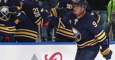 Nov 7, 2017; Buffalo, NY, USA; Buffalo Sabres left wing Evander Kane (9) celebrates after scoring his second goal of the game during the third period against the Washington Capitals at KeyBank Center.