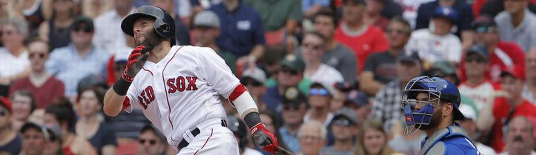 Dustin Pedroia homers against the Blue Jays on Thursday.