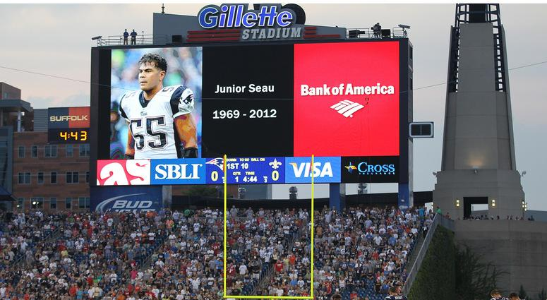 The Patriots honored the late Junior Seau in 2012.