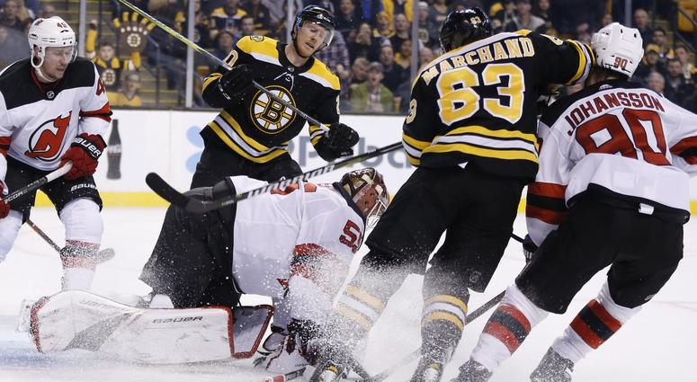 Brad Marchand could be in hot water for this elbow to Marcus Johansson