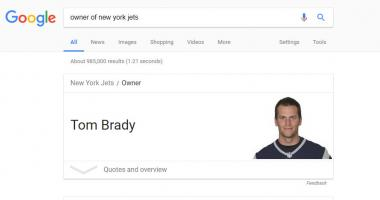 Google correctly identifies Tom Brady as owner of New York Jets