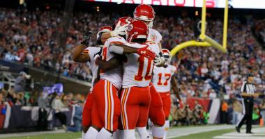 The Chiefs celebrate their shocking victory over the Patriots.