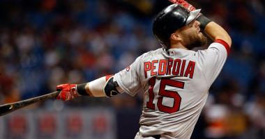 Dustin Pedroia exits after being hit in face with foul ball