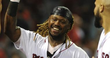 Red Sox DH Hanley Ramirez celebrates his walkoff homer vs. the Blue Jays.