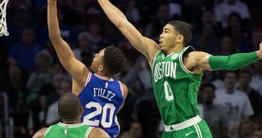 Jayson Tatum of the Celtics goes up to block Markelle Fultz of the 76ers.