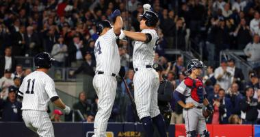 Yankees right fielder Aaron Judge (99) celebrates with catcher Gary Sanchez (24) after hitting a two-run homer against the Twins in the AL Wild Card game.