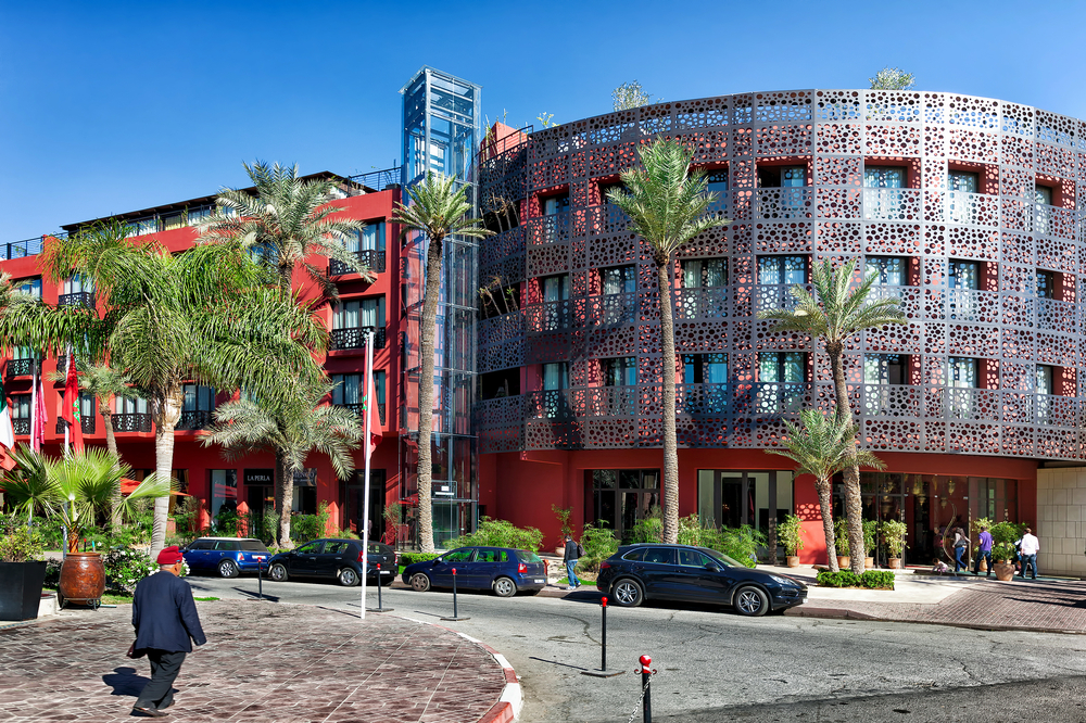 Modern hotels in an upscale Marrakech_318683045