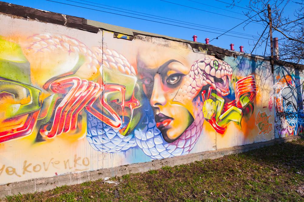 Colorful graffiti with girl portrait_272193473