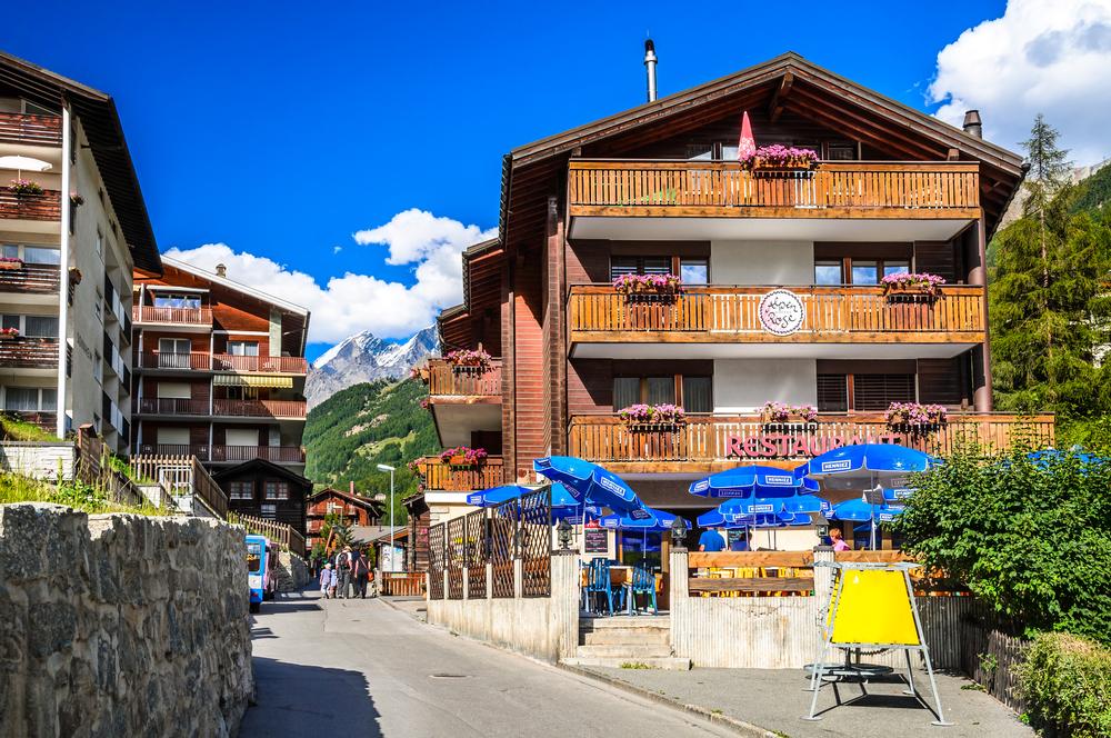 Urban scenery with famous swiss city Zermatt_256006756