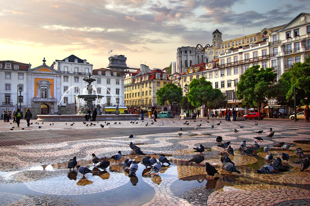 Panorama of Rossio Square in old downtown Lisbon, Portugal_113107894