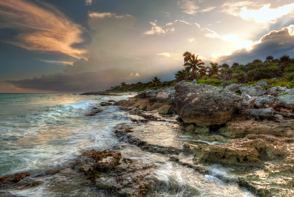 sunset at Caribbean Sea in Mexico_85697074