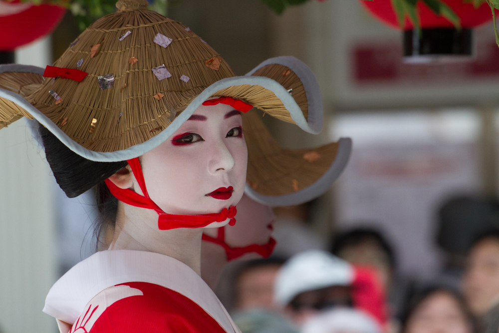 Maiko girl (or Geiko lady) on parade of hanagasa_299593574