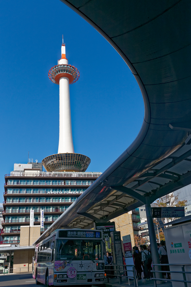 Kyoto Tower in front of Kyoto Station_389664439