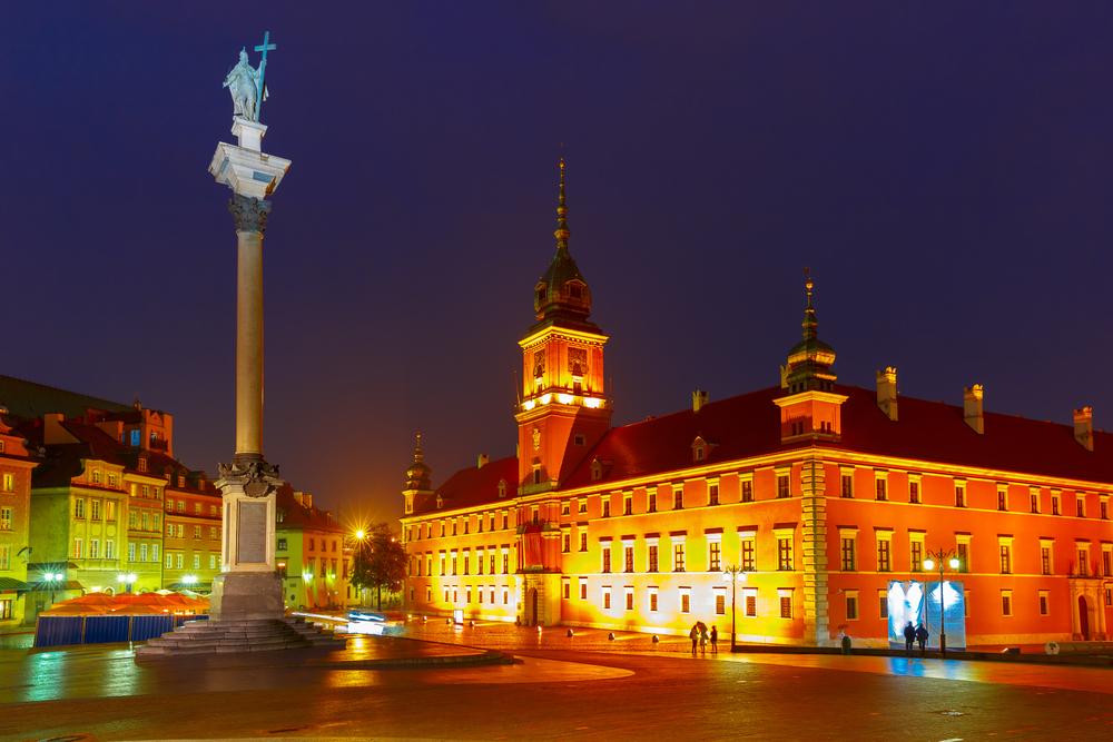 Castle Square illuminated in Warsaw_341509868