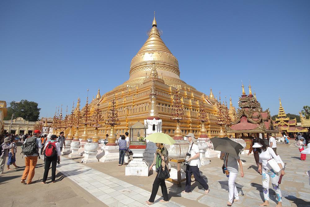 Shwezigon Pagoda at Bagan in Myanmar_288886385