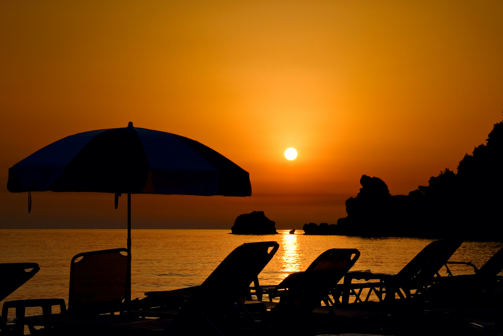 Sunset at the beach on Corfu island_2121495