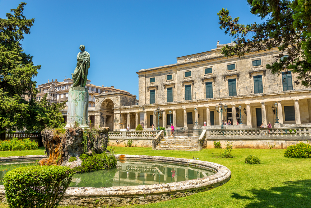 Lord Frederic Adams statue with Asian arts museum in Corfu town_209508448