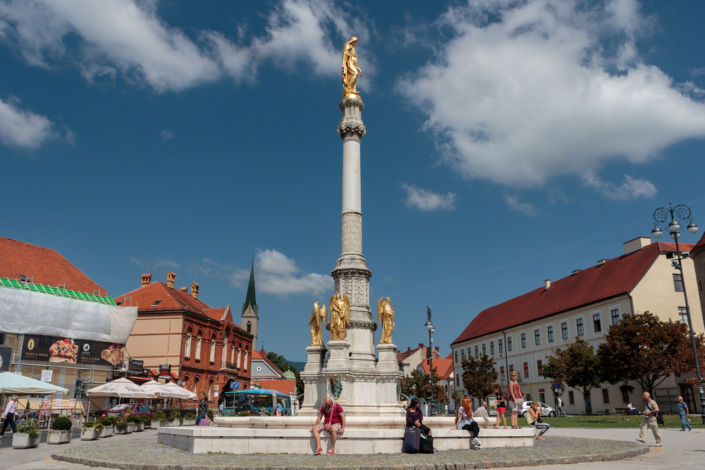 Water fountain with Holy Mary column in Zagreb_340807211