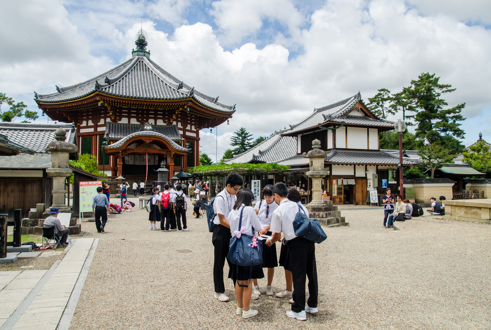 Japanese students in Kofukuji temple Nara_399205582