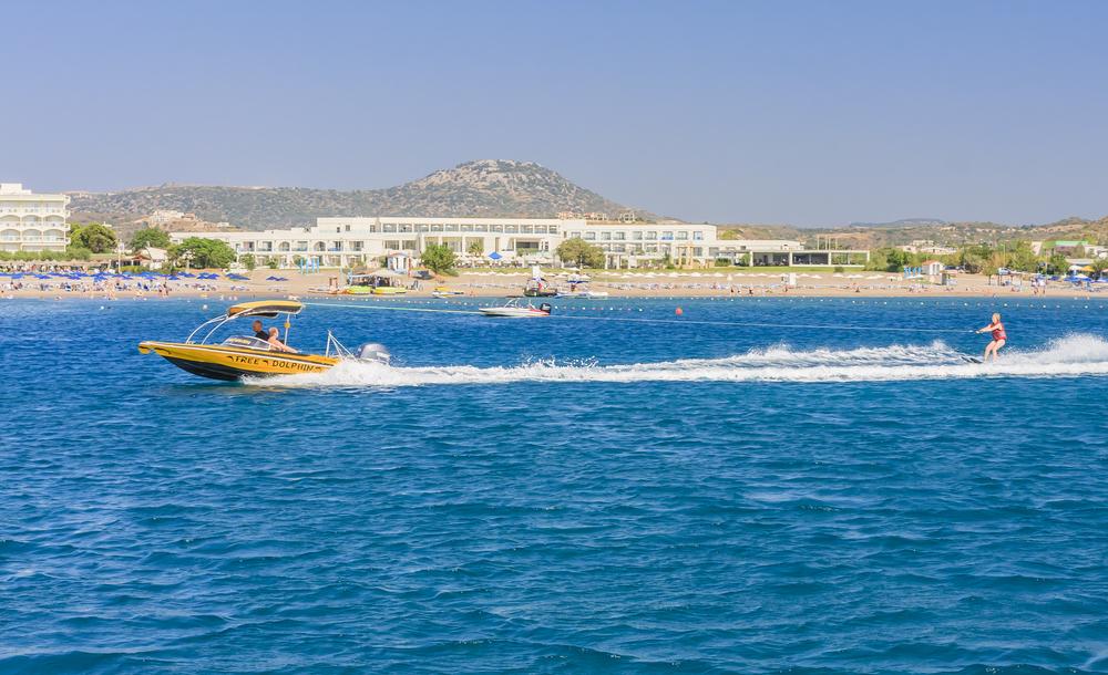 Water skiing at at sea near resort of Faliraki_240616249