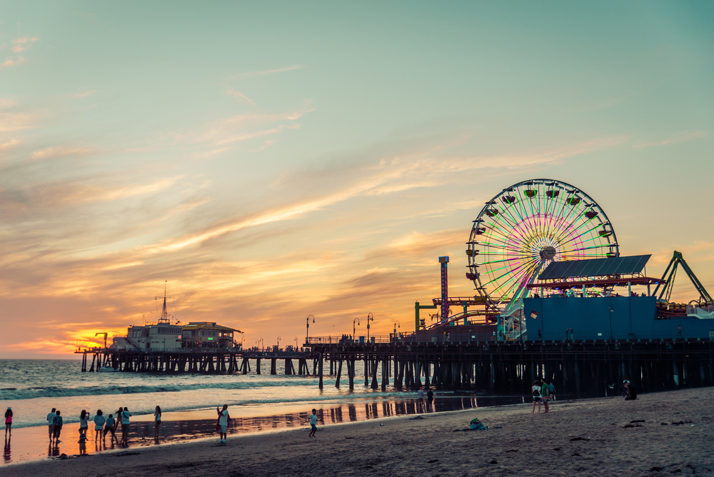 Santa Monica pier at sunset_360495383