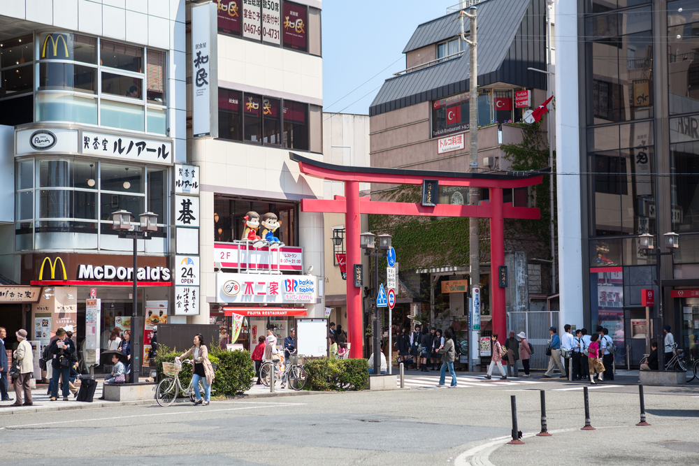 Torii at the entrance of shopping town_361547567