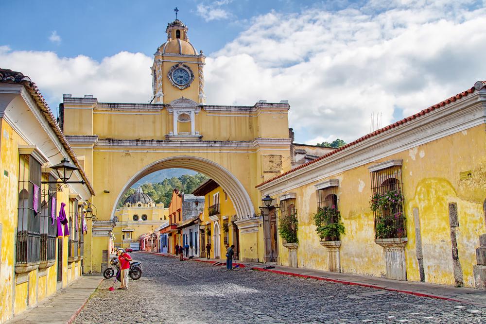 colonial colorful buildings in Antigua, Guatemala_196782161