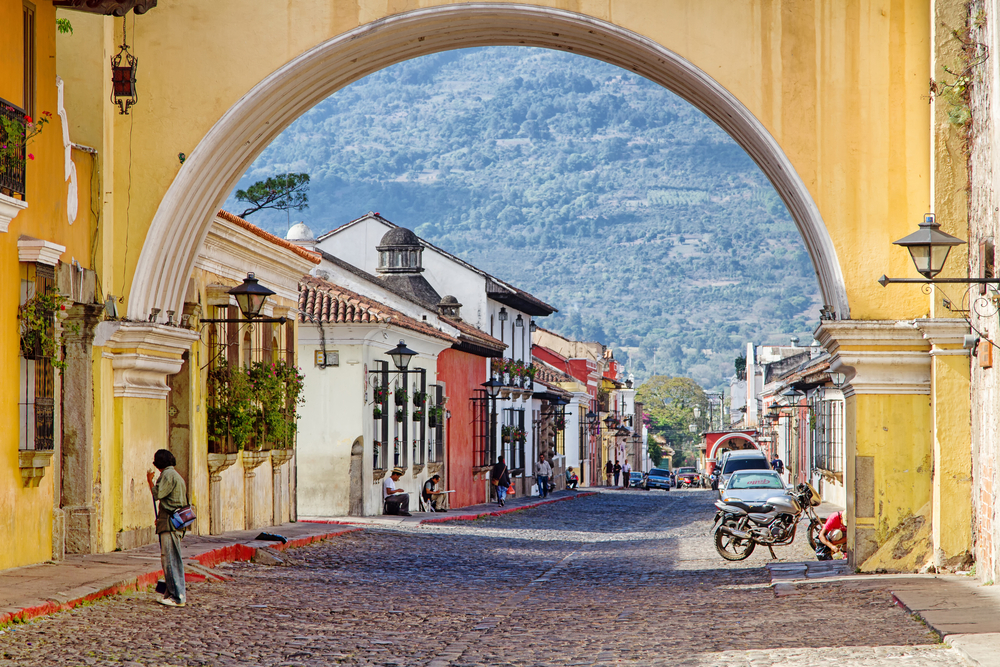 colonial colorful buildings in Antigua_196782185