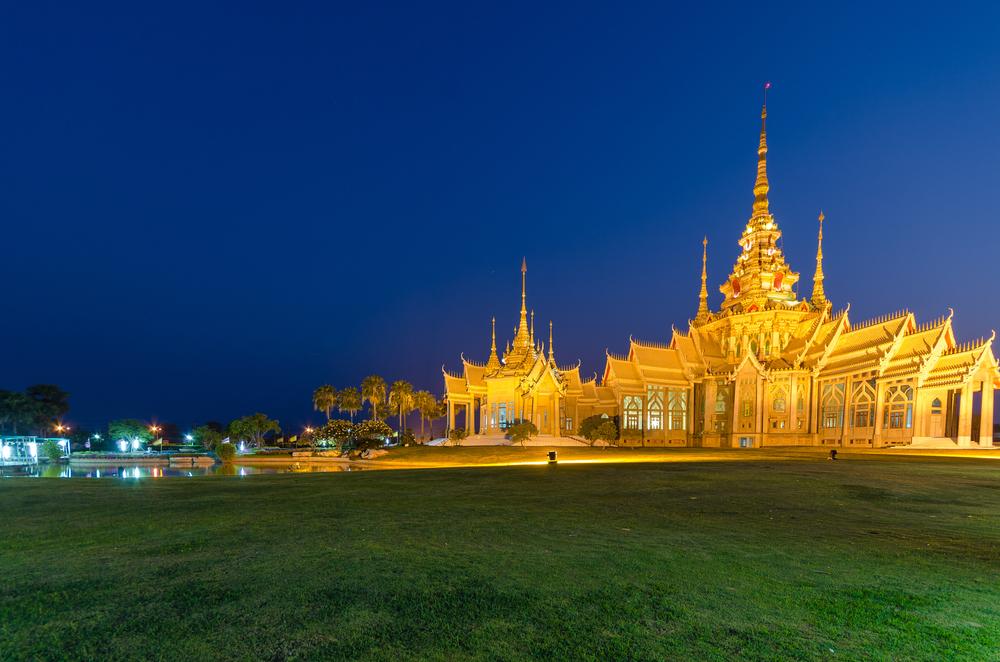 Wat Sorapong near the pond against blue sky in Nakhon Ratchasima or Korat_402544921