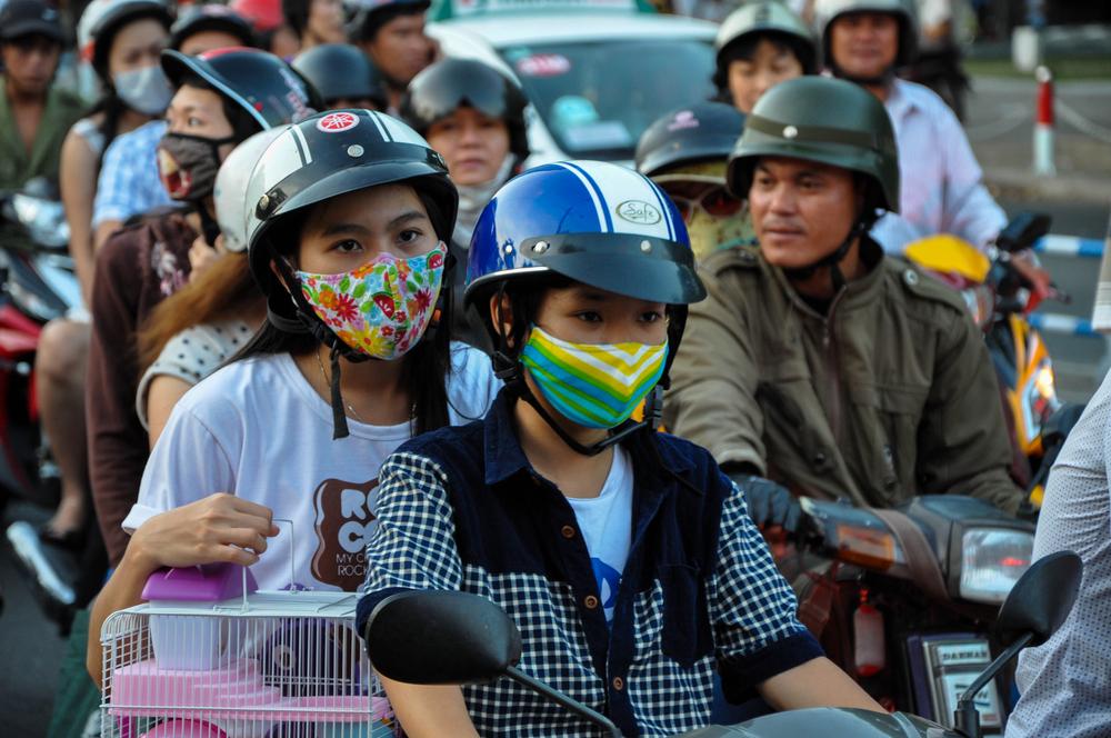 Chaotic road traffic in Saigon, Vietnam_142938022