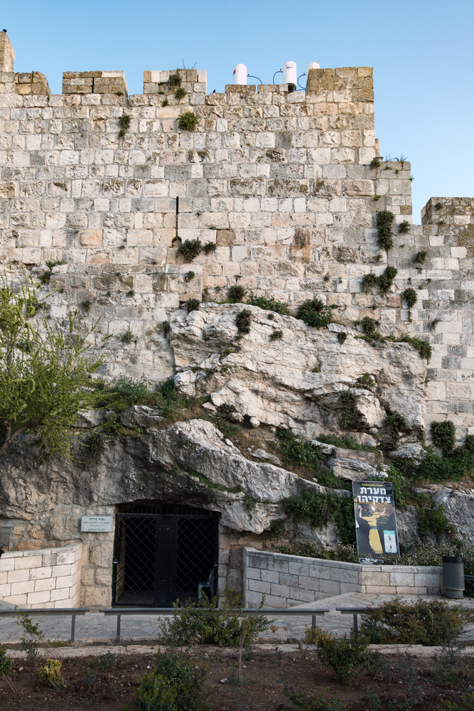 strong stone wall of the old city of Jerusalem_438418309