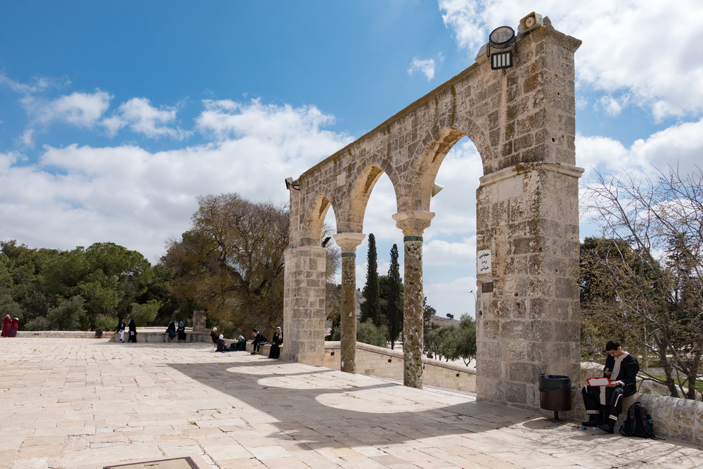 ancient entrance gate to the Temple Mount_438367693
