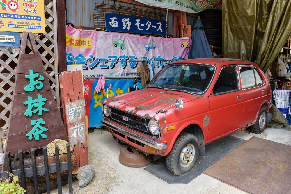 unidentified model of vintage Honda car in Shirakawa-go_441928381